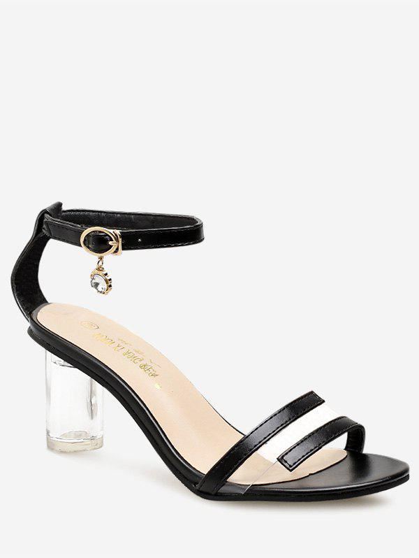 Shops PU Leather Lucid Strap Mid Heel Pumps