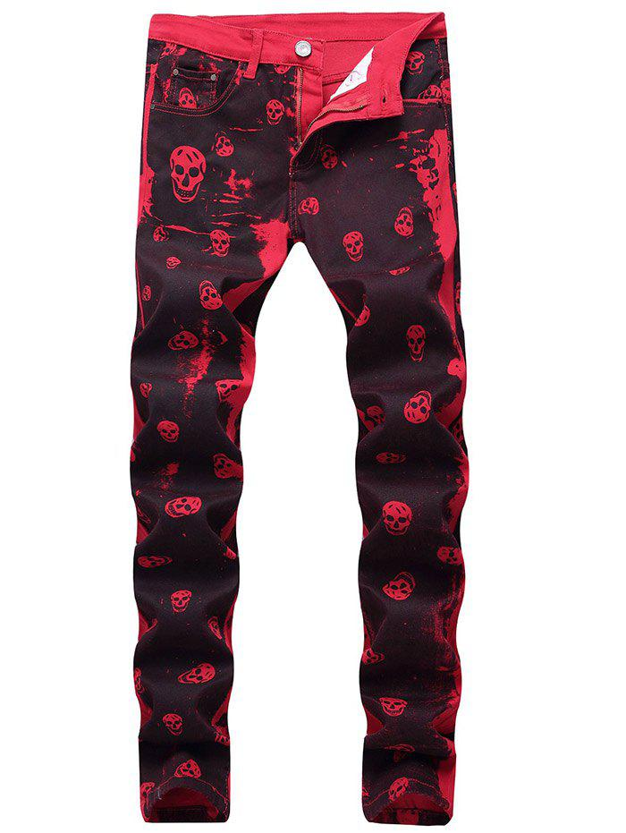 Buy Zip Fly Skull Print Jeans