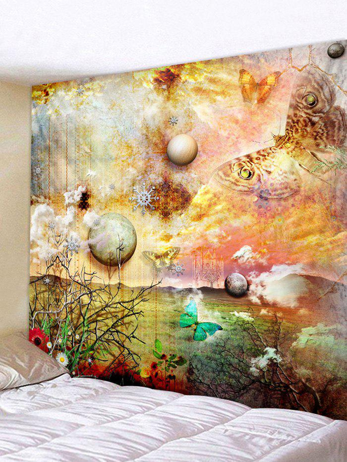 Online Planet Butterfly Print Tapestry Wall Art Decoration