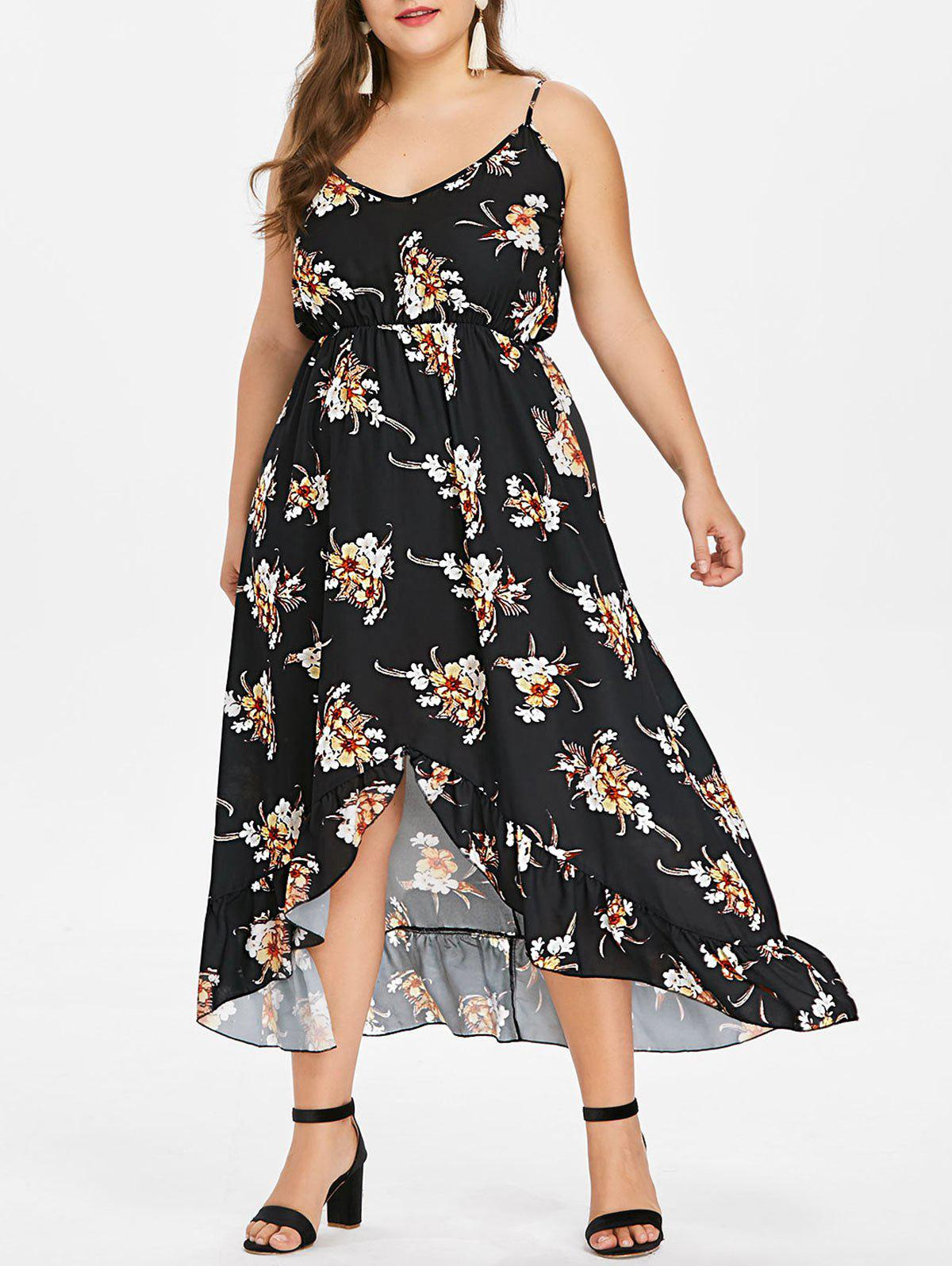 New Plus Size Print Flounce Spaghetti Strap Dress