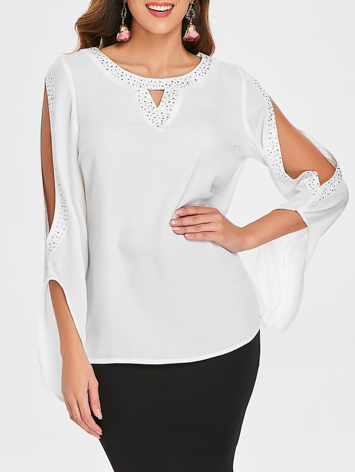 Unique Slit Sleeve Jewel Trim Blouse