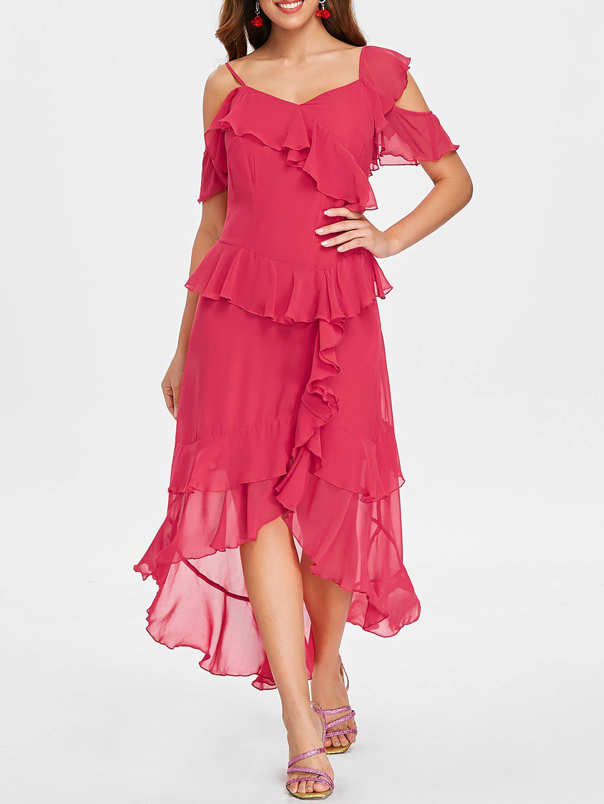 Latest Asymmetric Layer Ruffle Faux Wrap Midi Dress