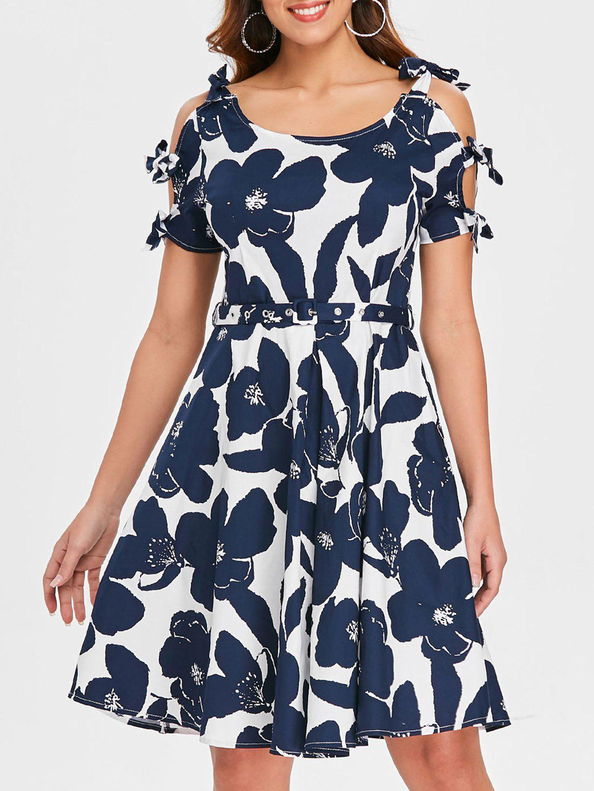 Fashion Retro Floral Bowknot Cut Out Flare Dress