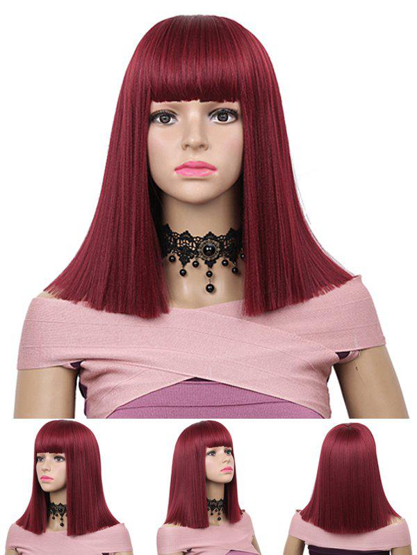 Store Medium Neat Bang Blunt Straight Synthetic Wig