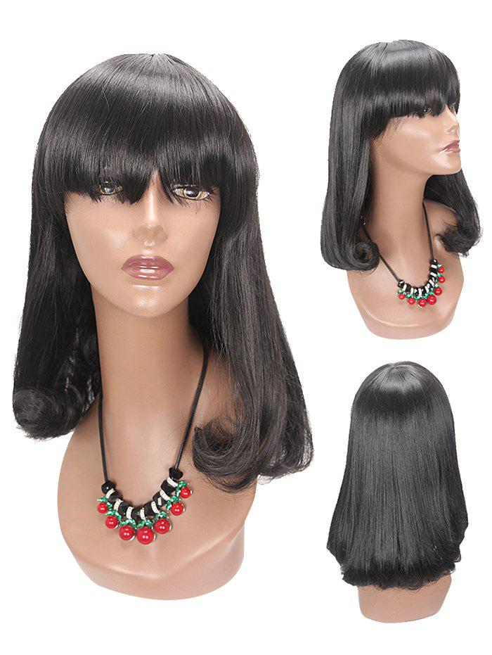 Chic Long Full Bang Tail Adduction Straight Synthetic Wig