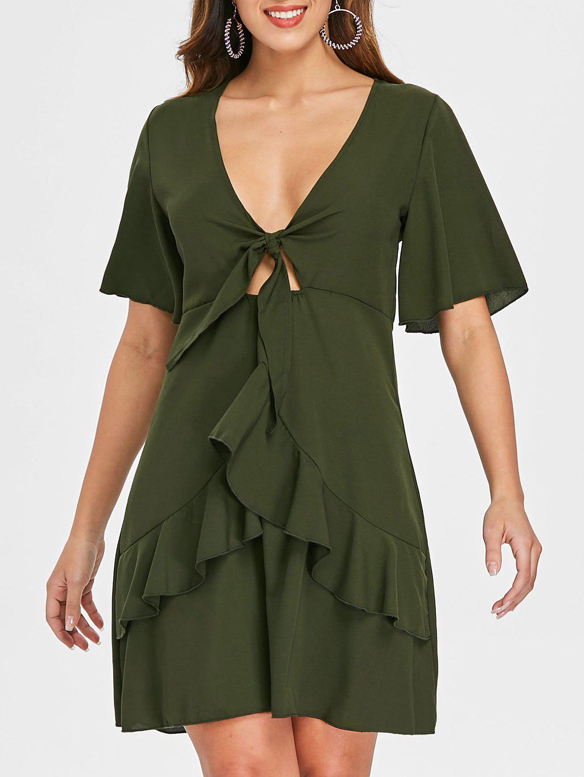Store Knot Tie Layered Flounce Dress