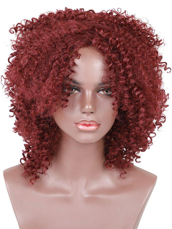 Cheap Medium Oblique Bang Fluffy Curly Synthetic Wig