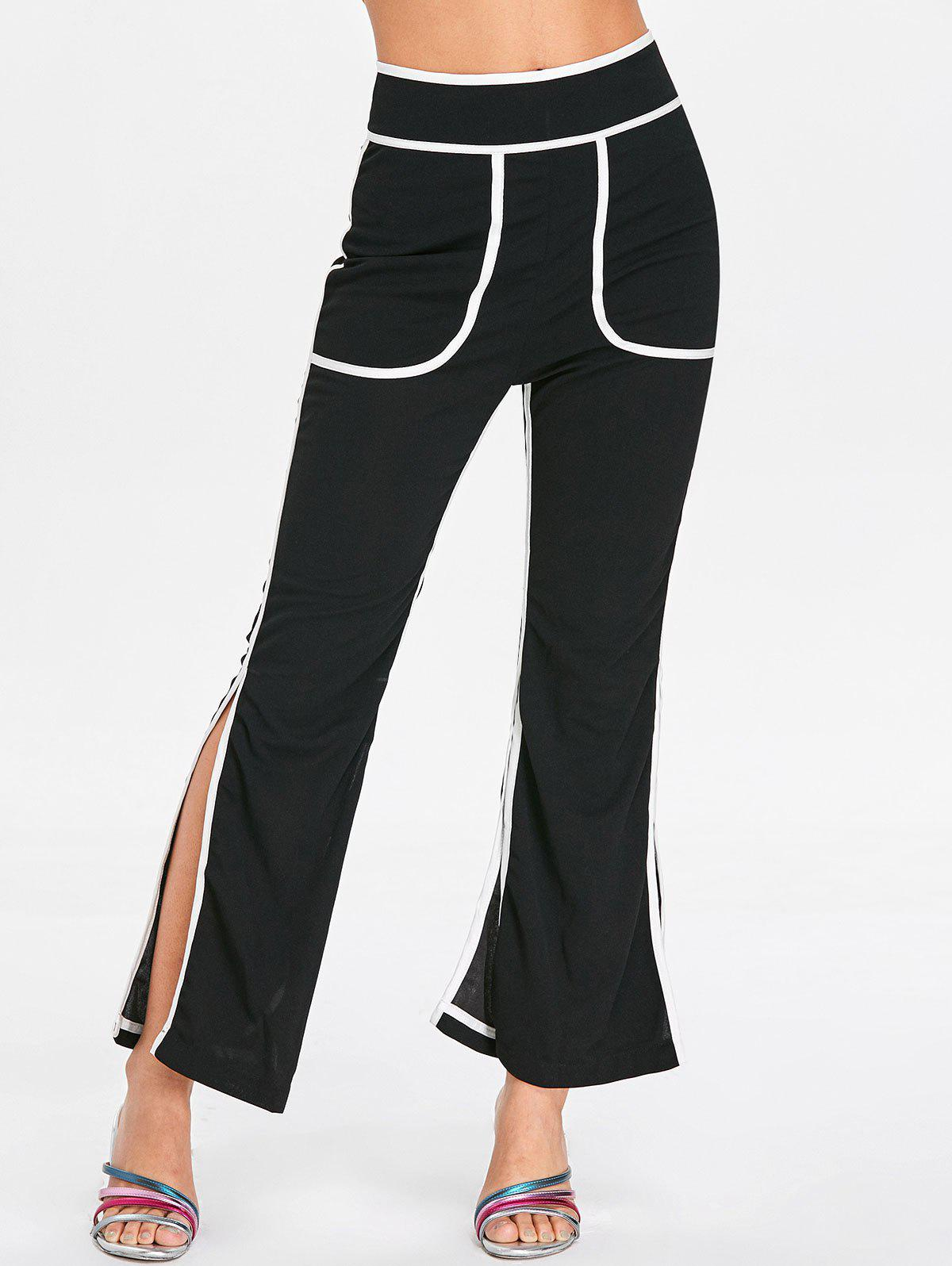 Discount High Rise Contrasting Split Pants