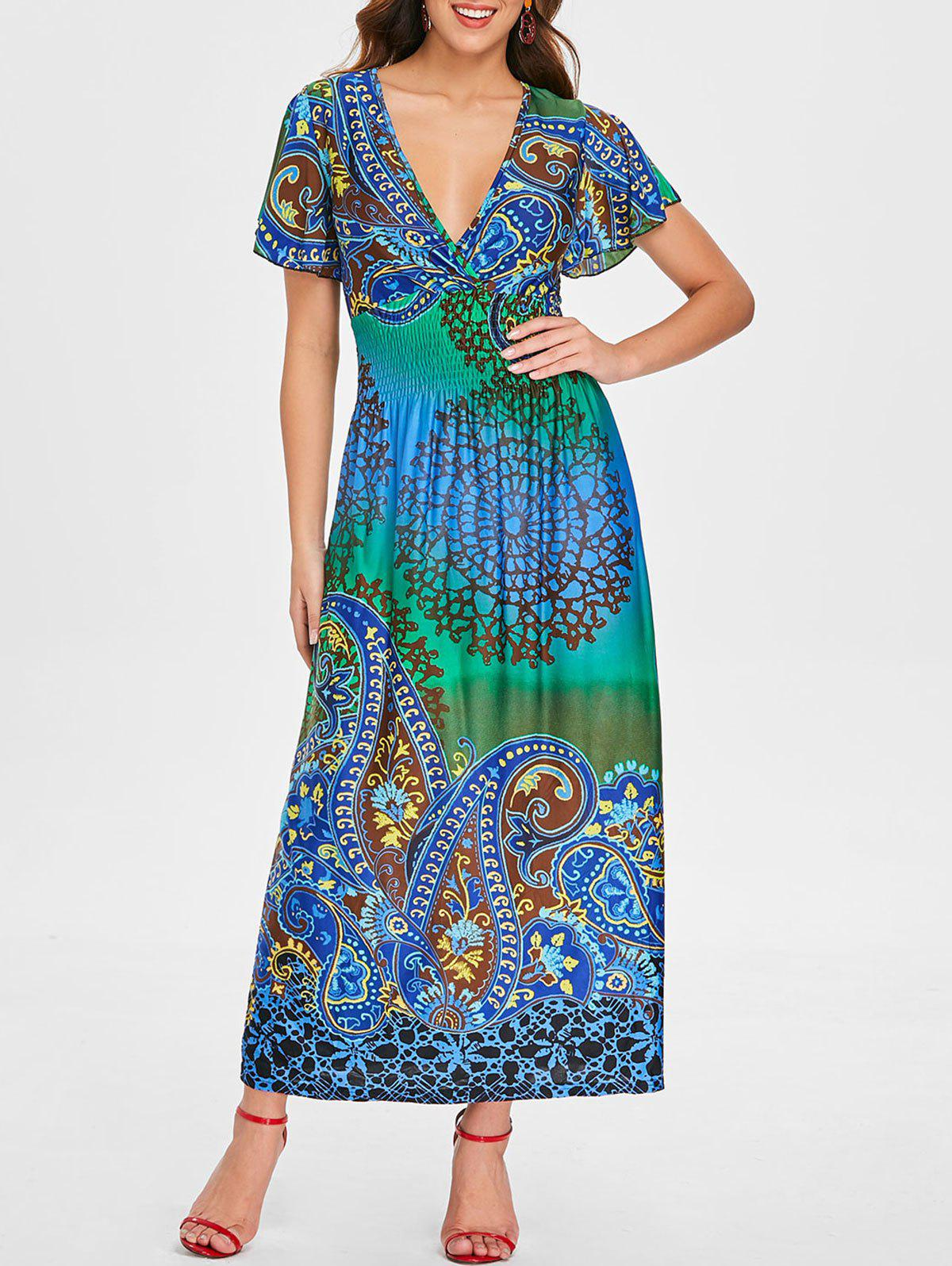 Online Plunging Neckline Ethnic Print Long Dress