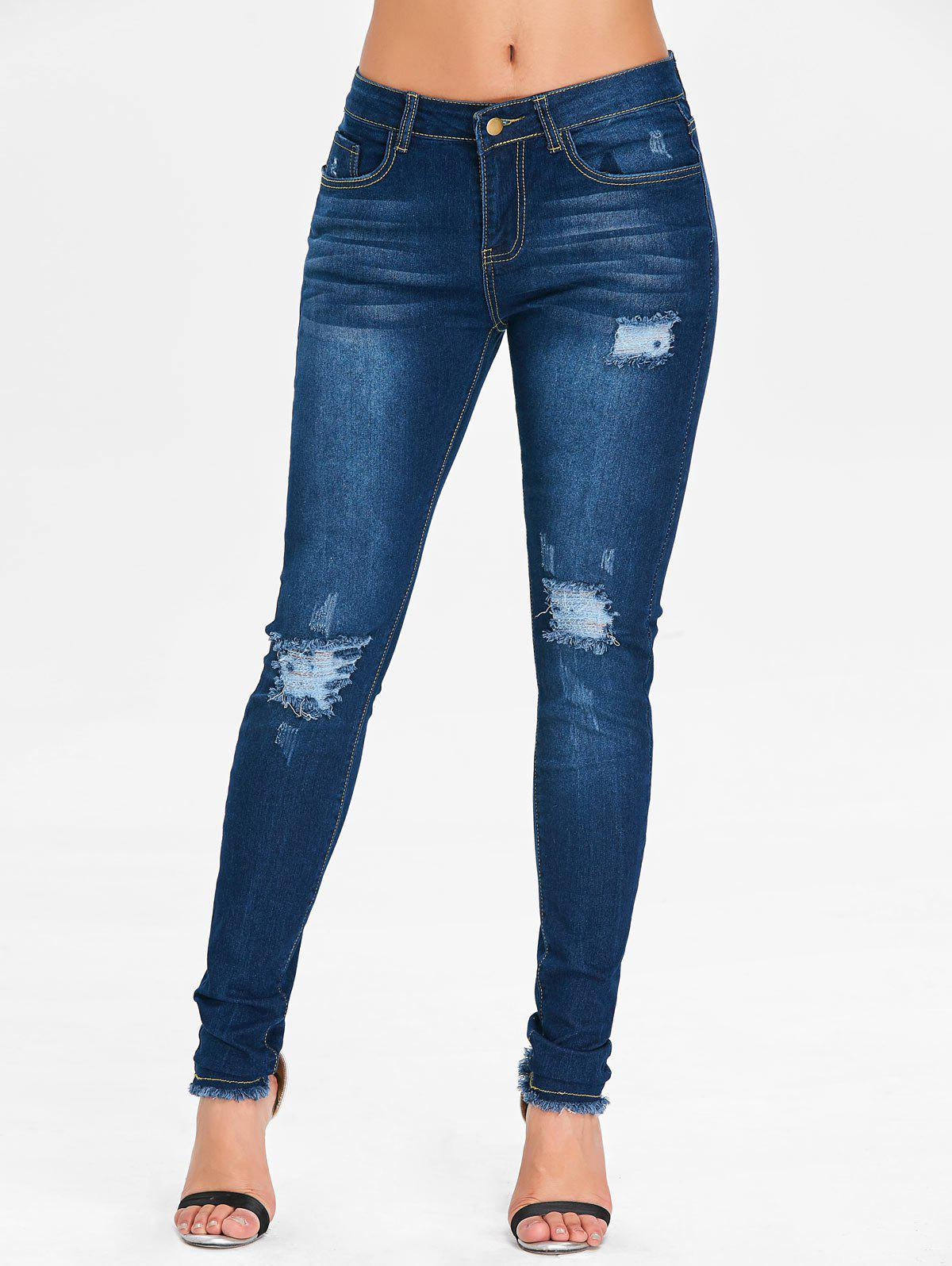 Online Mid Rise Ninth Ripped Jeans