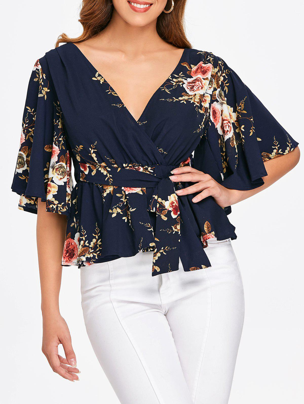 Affordable Floral Print Faux Wrap Blouse