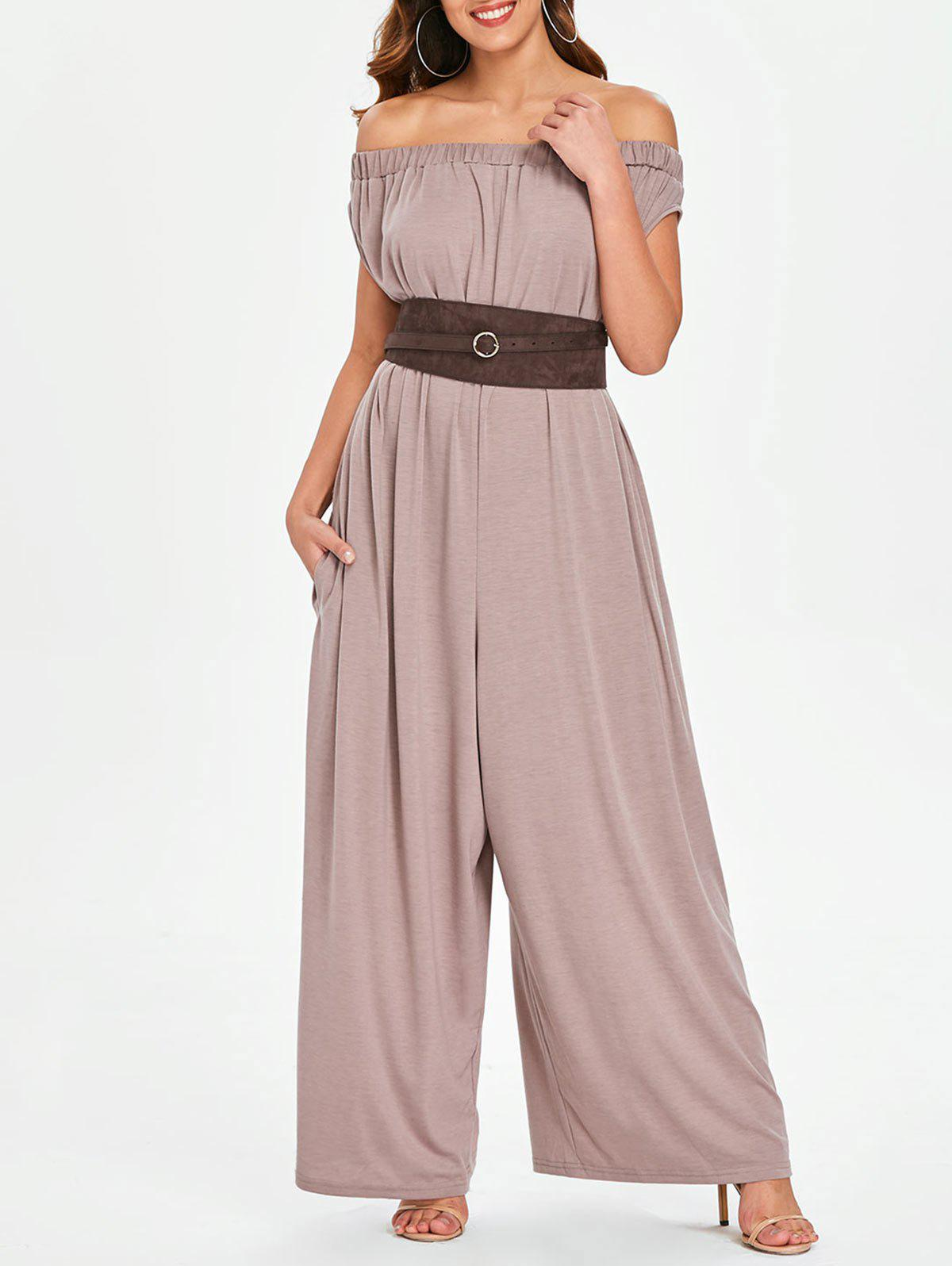 Fashion Short Sleeve Off The Shoulder Jumpsuit