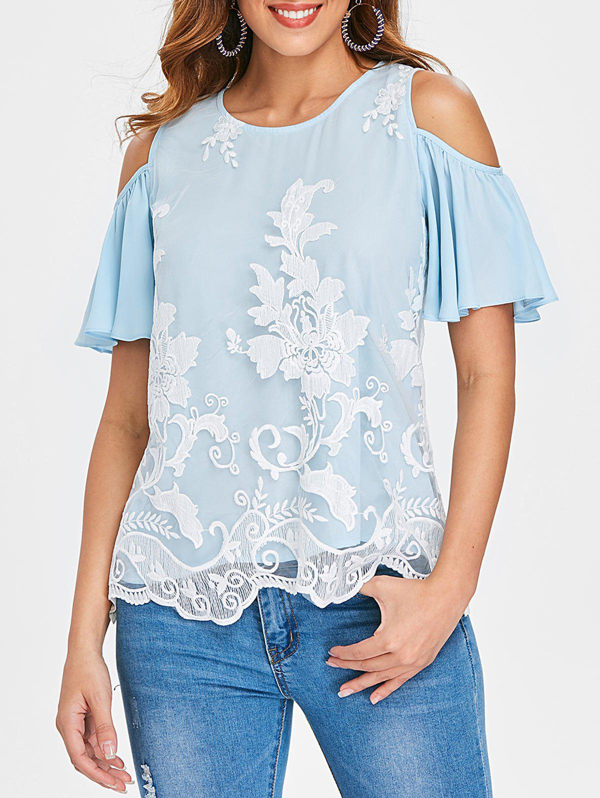 Outfit Cold Shoulder Mesh Overlay Blouse