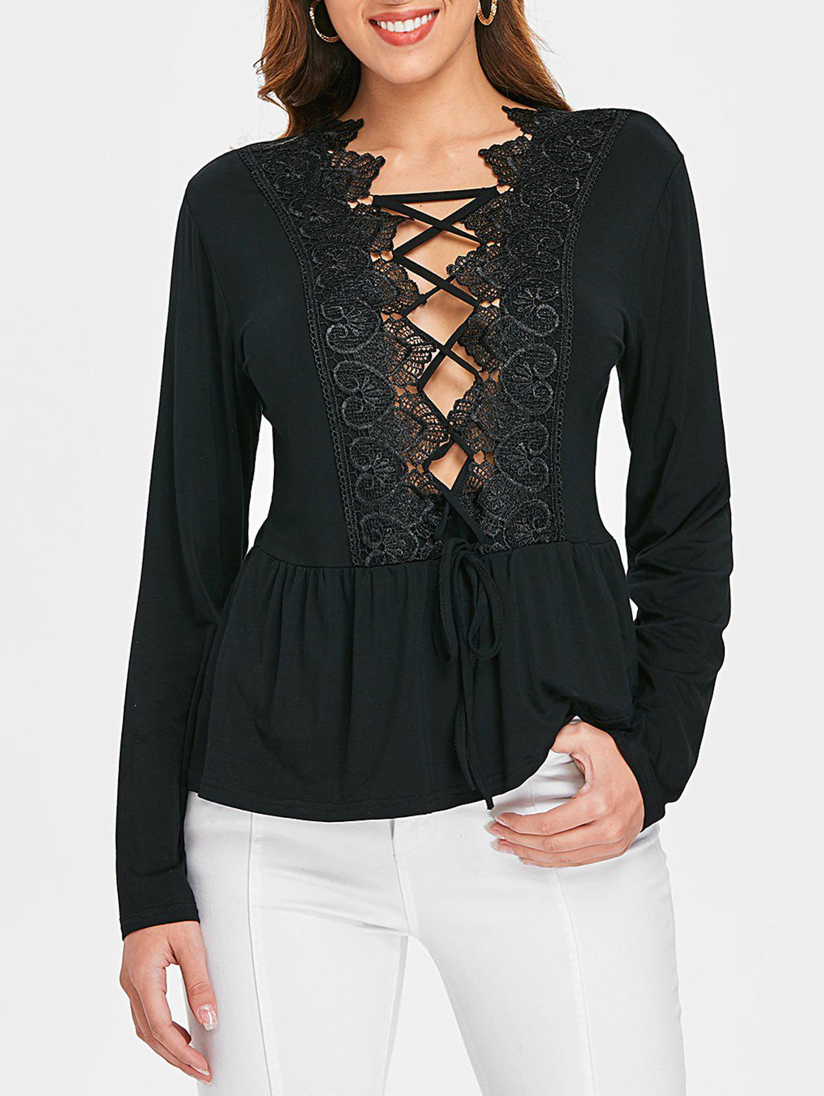 Outfits Lace Insert Lace Up Plunge Top