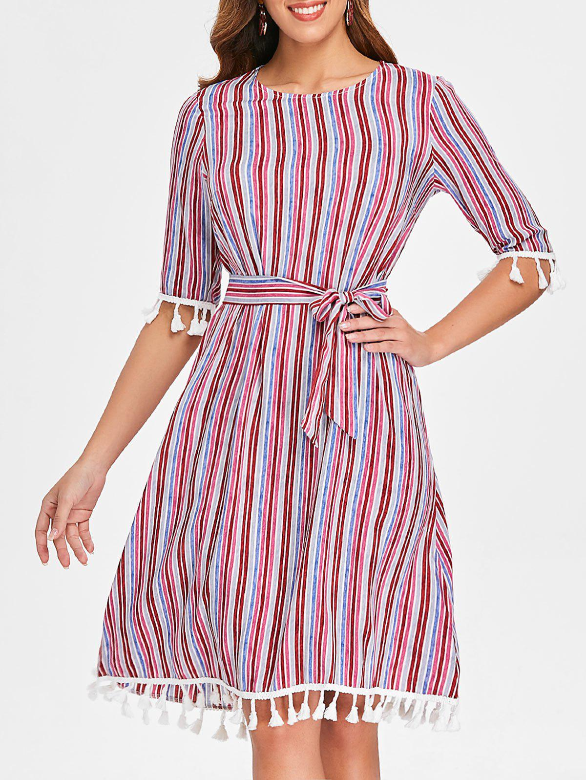 Online Striped Tassels Shift Dress