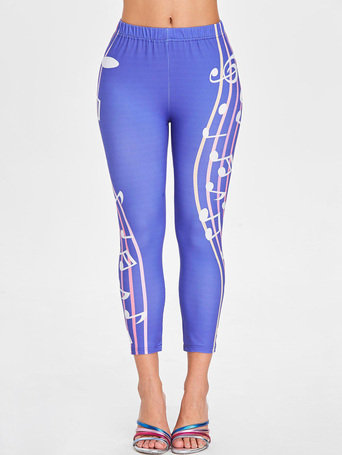 Outfit Music Notes Print Elastic Waist Leggings