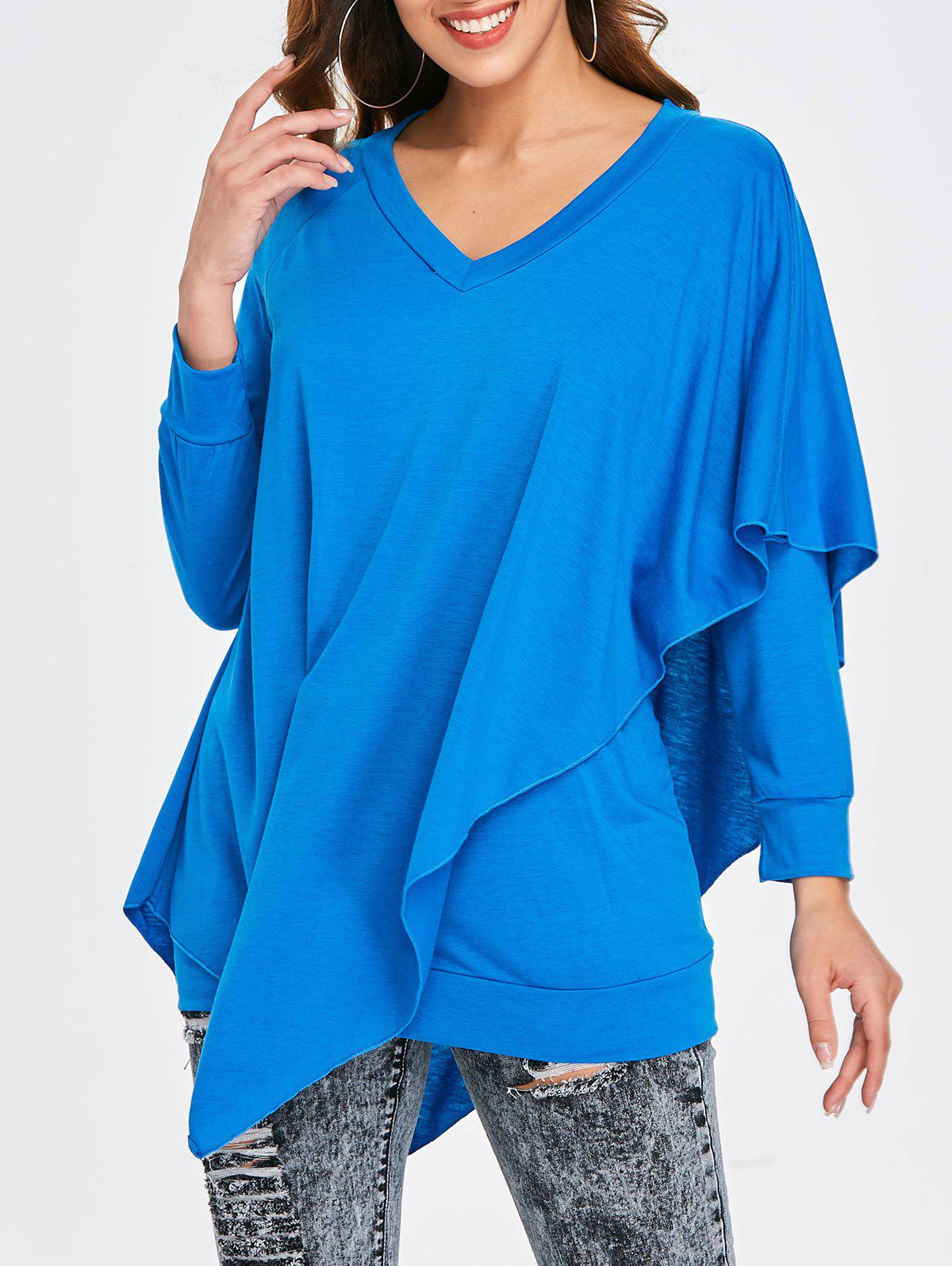 New Asymmetrical V Neck T-shirt
