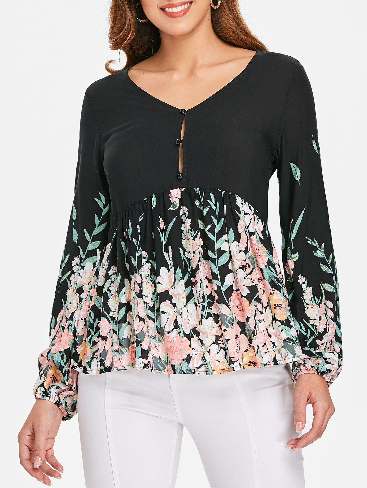 Outfit V Neck Print Flare Blouse