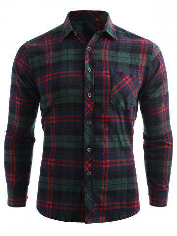 Checked Print Chest Pocket Button Up Shirt