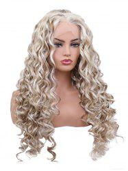 Long Free Part Colormix Curly Wavy Lace Front Synthetic Wig -