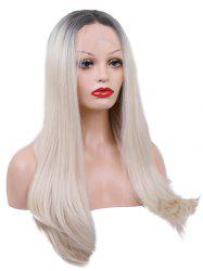 Middle Part Long Straight Colormix Lace Front Synthetic Wig -