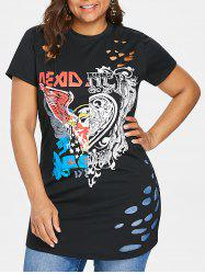 Plus Size Graphic Hole Distressed T-shirt -