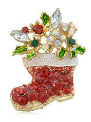 Faux Crystal Christmas Shoes Brooch -