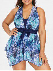 Plus Size Leopard Print One Piece Swimwear -