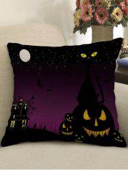 Halloween Moon Night Print Decorative Linen Sofa Pillowcase -