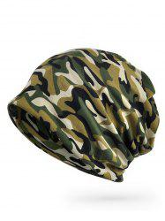 Camo Printed Open Top Slouch Beanie -