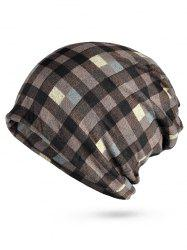 Lightweight Open Top Plaid Slouchy Beanie -