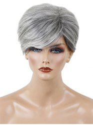 Short Side Bang Colormix Textured Layer Straight Human Hair Wig -