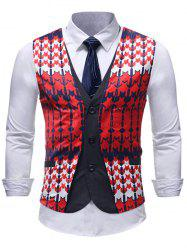 Single-breasted False Two Pieces V Neck Vest -