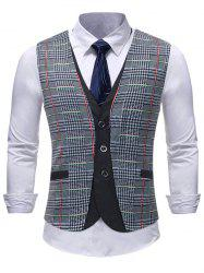 Check Pattern Adjustable Buckle Layered Vest -