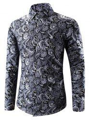 Ethnic Filigree Print Button Up Shirt -
