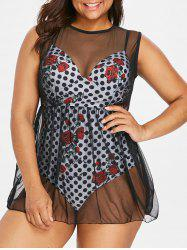 Plus Size Polka Dot Tulle One-Piece Swimsuit -