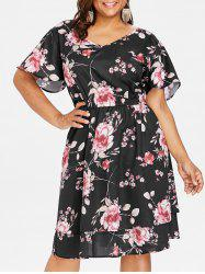 Plus Size V Neck Print Dress -