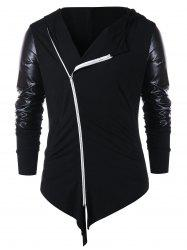 Zip Embellished Panel Asymmetric Hoodie -