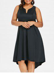 Robe Trapèze Style Haut-Bas Grande-Taille -