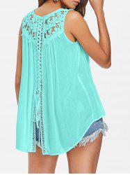 Back Slit Lace Panel Tank Top -