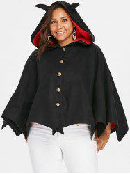 Halloween Plus Size Button Up Hooded Batwing Coat -