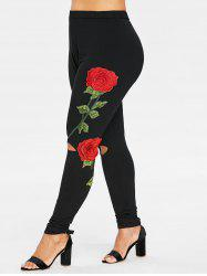 Floral Embroidery Plus Size Cut Out Leggings -