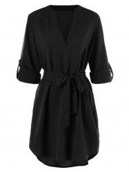 Belted Long Sleeve Casual Dress -