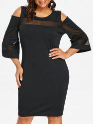 Cold Shoulder Plus Size Mesh Panel Knee Length Dress -
