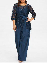 Plus Size Palazzo Jumpsuit with Lace Blouse -