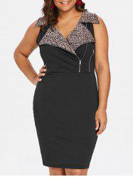 Plus Size Leopard Sleeveless Sheath Dress -