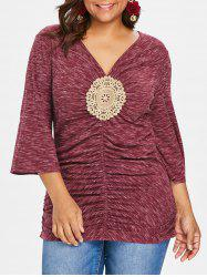 Plus Size Embroidery Applique Shirred T-shirt -