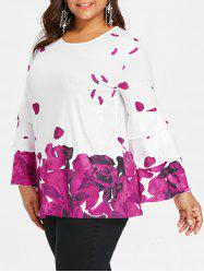 Plus Size Layered Sleeve Rose Petal Blouse -