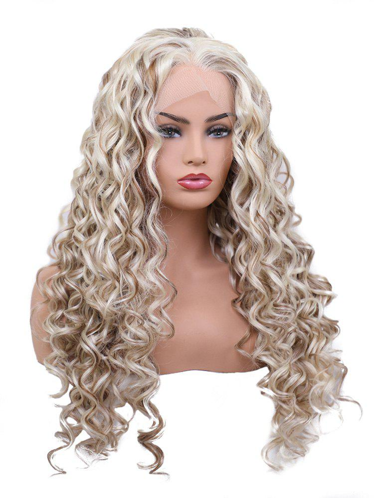 Fashion Long Free Part Colormix Curly Wavy Lace Front Synthetic Wig