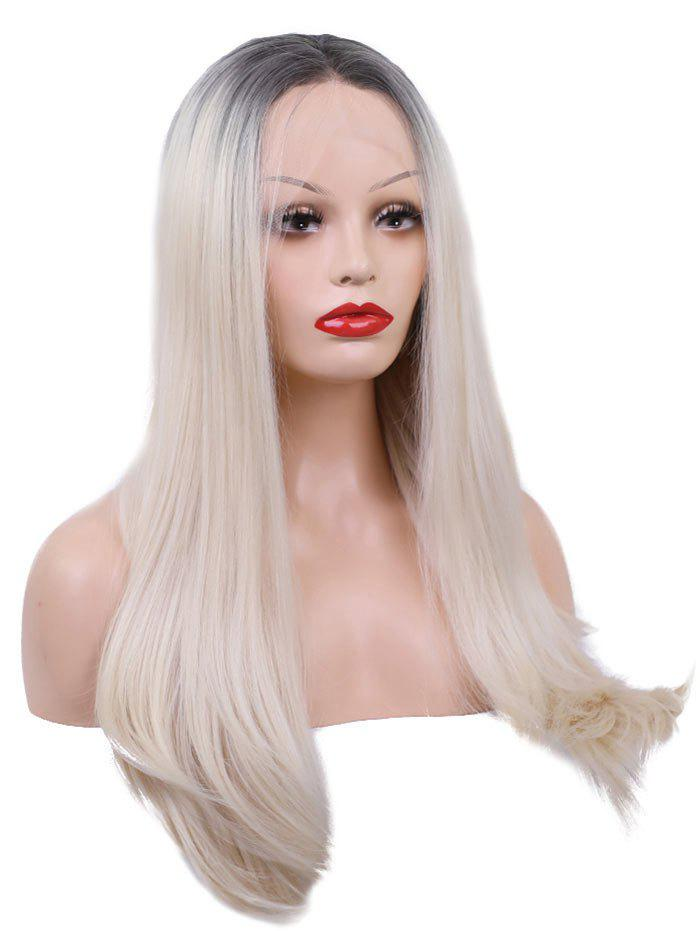 Outfits Middle Part Long Straight Colormix Lace Front Synthetic Wig